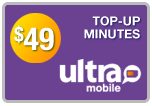 Buy the $49.00 Ultra Mobile Top-Up Refill Minutes | On SALE for Only $49.89