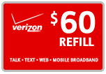 Buy the $60.00 Verizon Prepaid Refill Minutes Instant Prepaid Airtime | On SALE for Only $59.59