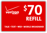 Buy the $70.00 Verizon Prepaid Refill Minutes Instant Prepaid Airtime | On SALE for Only $69.49