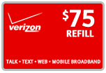 Buy the $75.00 Verizon Prepaid Real Time Refill Minutes | On SALE for Only $74.39