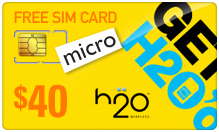 Buy the $49.99 H2O Wireless Micro SIM Cards | On SALE for Only $39.89